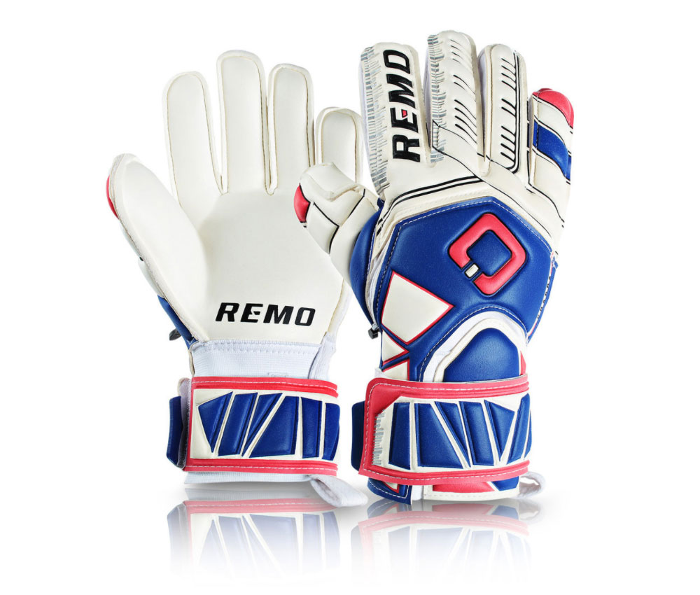 Remo Guarda Finger Protection Torwarthandschuhe Rot-Blau